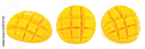 Fototapeta Carved mangoes isolated on a white background.