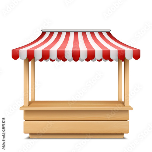 Stampa su Tela Vector realistic illustration of empty market stall with red and white striped awning isolated on background