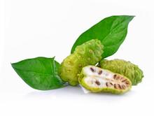 Noni Leaf And Fruit Isolated O...