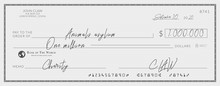 Bank Check Signed For Charity. One Million Dollars Donation For The Animals Asylum.
