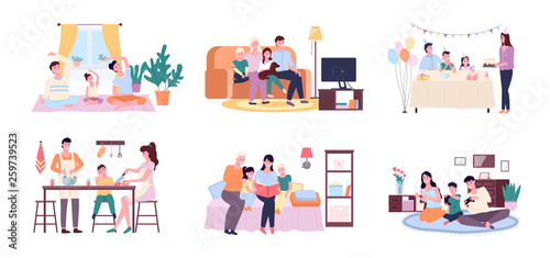 Fotografie, Tablou People at home vector, mother and father with kid cooking in kitchen