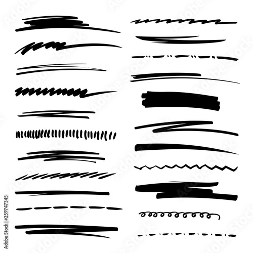 Cuadros en Lienzo Hand drawn collection set of underline strokes in marker brush doodle style