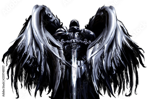 Photo  Mystical angel in hood and armor with big black wings and crystal sword