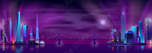 Fotobehang Violet Modern city night landscape neon color cartoon vector with suspension bridge connecting two districts of modern metropolis with illuminated skyscrapers on opposite sides of river or bay illustration.