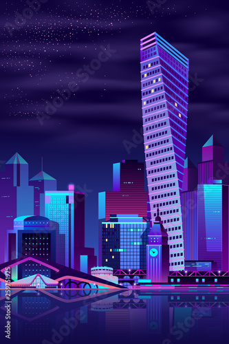 Modern metropolis night cityscape cartoon vector background. Futuristic skyscrapers, public buildings and old architecture town hall building with clock on river shore illustration in neon colors Wall mural