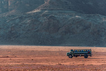View On Cargo Track With Water Tank In Incredible Lunar Landscape In Wadi Rum Village In The Jordanian Desert. Wadi Rum Also Known As The Valley Of The Moon,  Jordan - Image