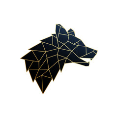 Golden Polygonal Wolf emblem isolated on white background. Vector geometric Wolf illustration.
