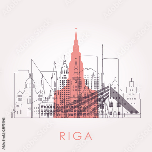 Staande foto Antwerpen Outline Riga skyline with landmarks. Vector illustration. Business travel and tourism concept with historic buildings. Image for presentation, banner, placard and web site.