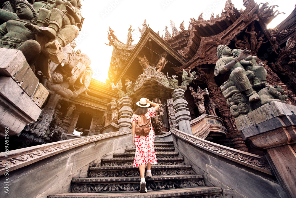 Fototapety, obrazy: Tourist is travel in Sanctuary of truth in Pattaya, Thailand.