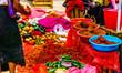 Leinwanddruck Bild View on spices on market in tzotzil village, Mexico