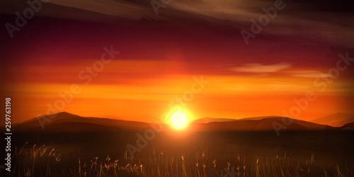 Foto auf AluDibond Violett rot Illustration of orange sunset with far away mountain range and South Africa safari landscape.