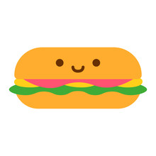 Cute Sandwich Icon Isolated On White Background