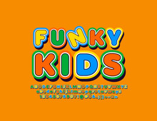 Vector Colorful Artistic Font For Funky Kids. Bright Cute ALphabet Letters, Numbers And Symbols