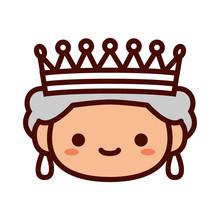 Cartoon Queen Emoji Icon Isola...