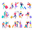Different people travel on vacation. Tourists with laggage travelling with family, friends and alone, go on journey. Travelers in various activity with luggage and equipment. Vector illustration