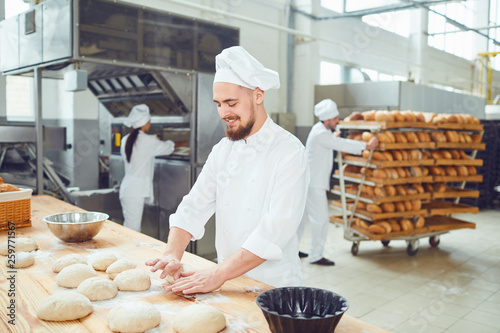 Bearded man baker at the bakery. Canvas-taulu
