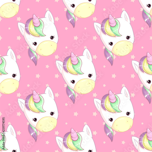 Photo  Pattern with a cute rainbow unicorn on a pink background with stars
