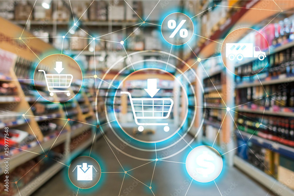 Fototapeta Shopping cart Ecommerce Marketing channel distribution concept on supermarket background.