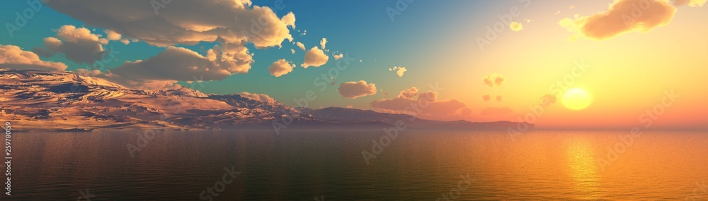 Fototapety, obrazy: Panorama of the sea sunset, sea and mountains