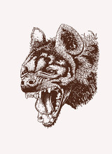 Graphical Vintage Hyena Roarin...