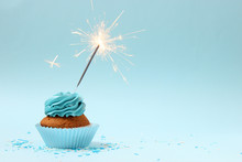 Cupcake With Sparkler On A Col...