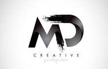 MD Letter Design With Brush St...