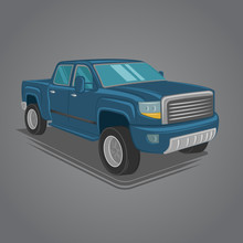 Modern Pickup Truck Vector Illustration. SUV 4x4 Offroad Wehicle