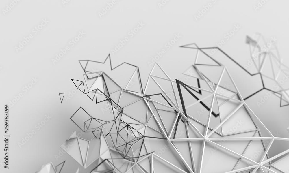 Fototapeta Abstract 3d render, geometric background, futuristic modern design