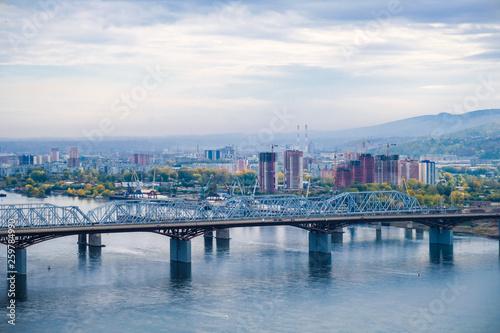 Fototapeta the bridge over the Yenisei river, city view obraz