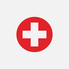 Red Cross Icon Isolated On White Background. Vector Illustration.