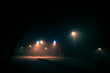 Fog at the crossroads in the night city