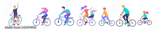 Foto Young woman and man ride the bike, family and friends riding bicycles