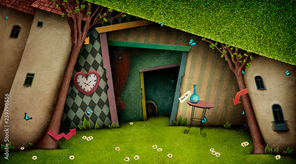 Fototapeta Conceptual fantasy bright background on the fairy tale Wonderland with  magic door and tree.