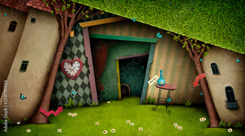 Obraz na plátně Conceptual fantasy bright background on the fairy tale Wonderland with  magic door and tree