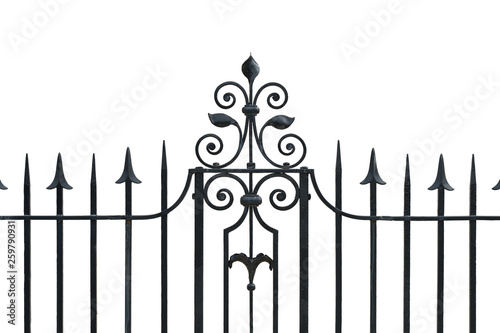Fotografie, Obraz  Iron Fence Isolated On White Background