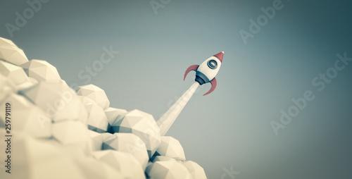 Tableau sur Toile Raketenstart - Konzept Start-Up oder Unternehmensgründung