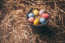 Set Of Easter Eggs On Straw