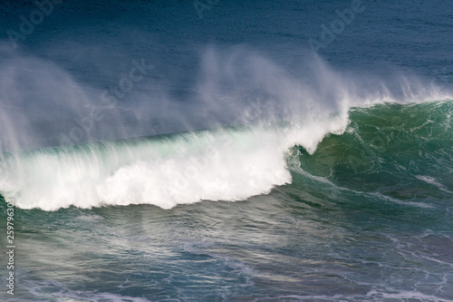 Poster Onweer Beautiful Blue powerful ocean wave with splashes. Waves background. Hight tide