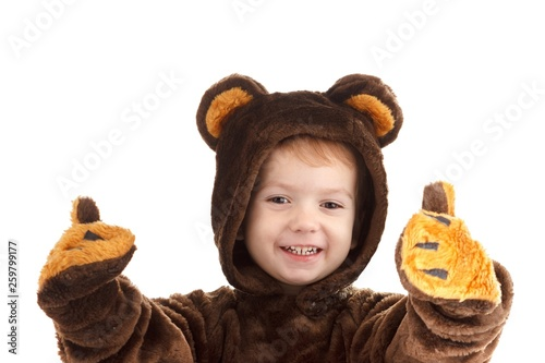 Fotografía Child in a christmas carnival bear costume isolated on white with copy space,  carnival