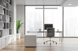 Modern white office interior with furniture.