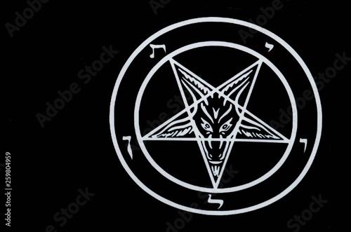 Satanic pentagram Satan goat head religion symbol Canvas Print