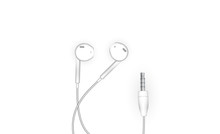 Neat Stylish Wired Earbud Headphones In White. Vector Illustration