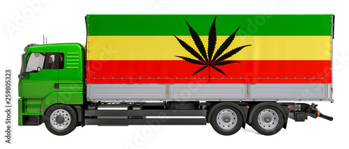 Fotografía  Smuggle of drugs concept. Truck with Rasta flag, 3D rendering
