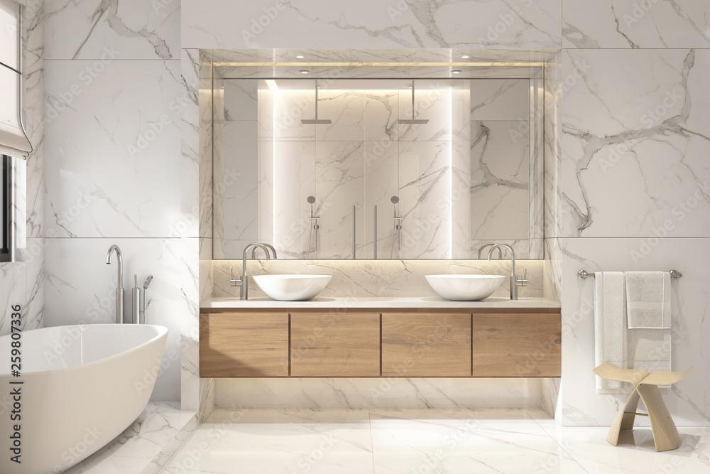 Fototapeta 3d rendering of a modern white marble bathroom
