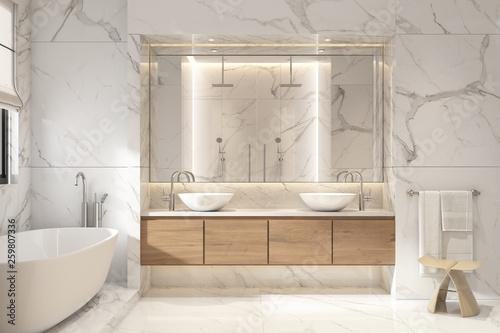 Fototapeta 3d rendering of a modern white marble bathroom obraz