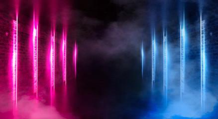 Dark tunnel with neon lights, lines, spotlights. Abste dark background with neon.
