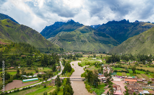 Obraz na plátně Aerial view of river at the Sacred Valley of the Incas near Urubamba town