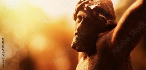 Billede på lærred Antique statue crucifixion of Jesus Christ as divine savior of the world