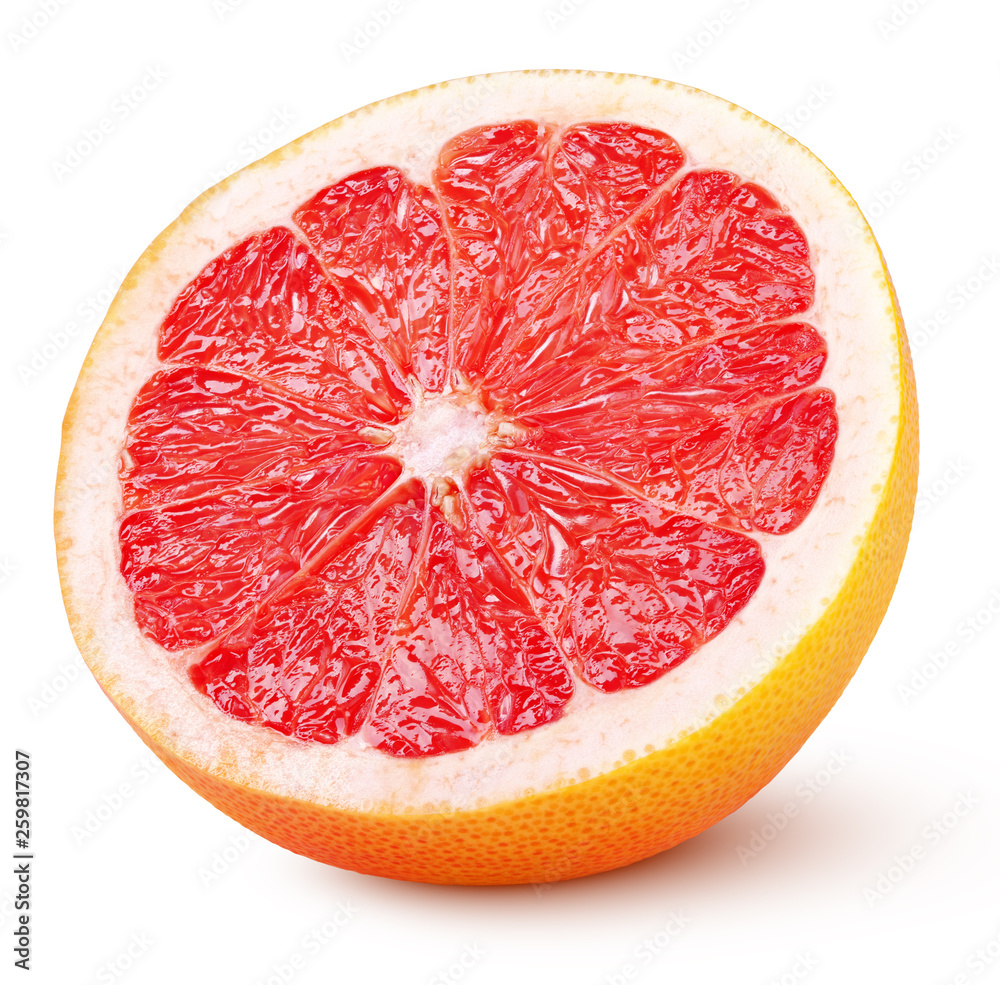 Fotografie, Obraz Half grapefruit citrus fruit isolated on white background with clipping path
