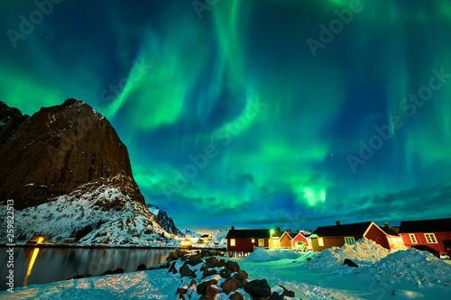 Foto op Aluminium Scandinavië Aurora borealis over Norway
